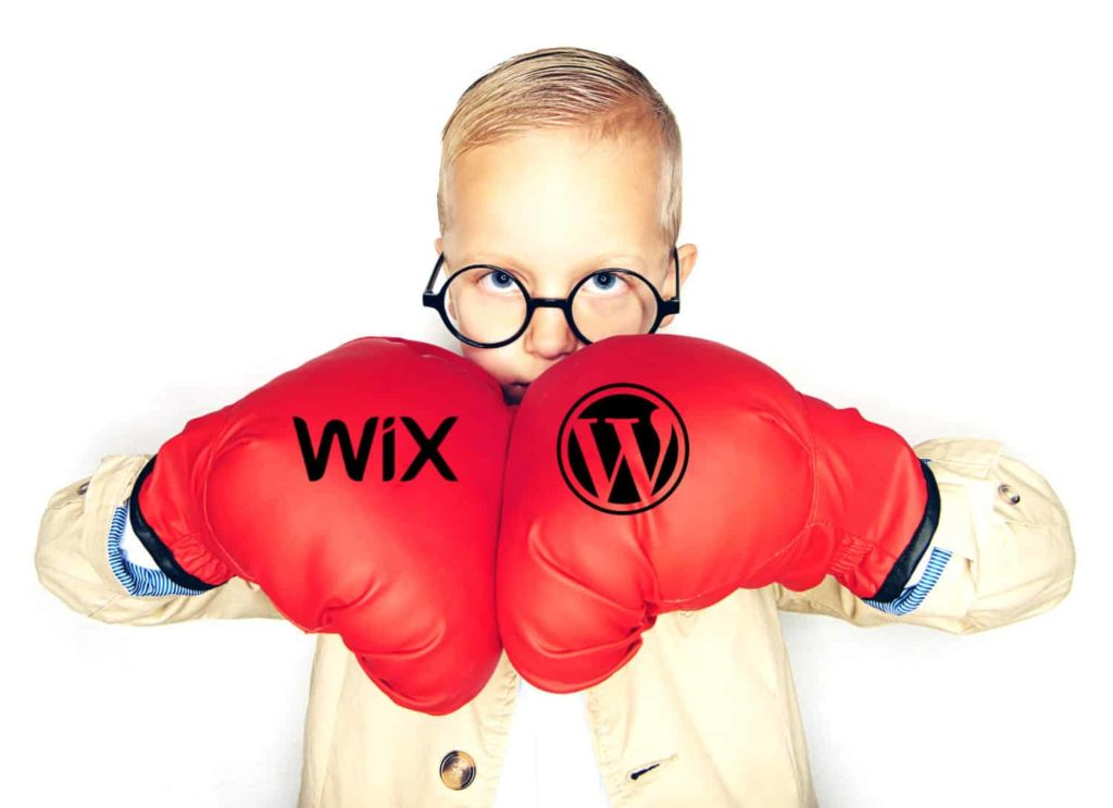 Wordpress vs Wix boxing gloves